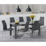 Atlanta 160cm Dark Grey High Gloss Dining Table with Cavello Chairs