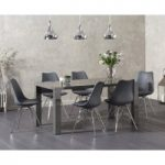 Atlanta 160cm Dark Grey High Gloss Dining Table with Calvin Chrome Leg Chairs