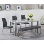 Atlanta 160cm Light Grey High Gloss Dining Table with Cavello Chairs and Atlanta Grey Bench