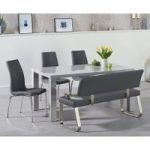 Atlanta 160cm Light Grey High Gloss Dining Table with Cavello Chairs and Malaga Grey Bench