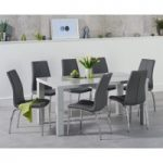 Atlanta 160cm Light Grey High Gloss Dining Table with Cavello Chairs