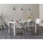 Atlanta 160cm Light Grey High Gloss Dining Table with Calvin Chrome Leg Chairs