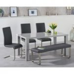 Atlanta 160cm Light Grey High Gloss Dining Table with Malaga Chairs and Atlanta Grey Bench