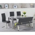 Atlanta 160cm Light Grey High Gloss Dining Table with Malaga Chairs and Malaga Grey Bench