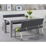 Atlanta 160cm Light Grey High Gloss Dining Table with Malaga Benches