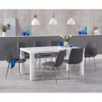 Atlanta 160cm White High Gloss Dining Table with Hamburg Faux Leather Chairs
