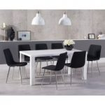 Atlanta 160cm White High Gloss Dining Table with Hamburg Fabric Chrome Leg Chairs