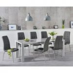Atlanta 180cm Light Grey High Gloss Dining Table with Calgary Chairs