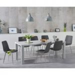 Atlanta 180cm Light Grey High Gloss Dining Table with Hamburg Faux Leather Chairs
