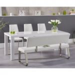 Atlanta 180cm White High Gloss Dining Table with Cavello Chairs and Malaga White Bench