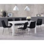 Atlanta 180cm White High Gloss Dining Table with Hamburg Fabric Chrome Chairs