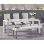 Atlanta 180cm White High Gloss Dining Table with Malaga Chairs and Atlanta White Bench