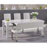 Atlanta 180cm White High Gloss Dining Table with Malaga Chairs and Malaga White Bench