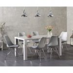 Atlanta 180cm Light Grey High Gloss Dining Table with Calvin Chrome Leg Chairs