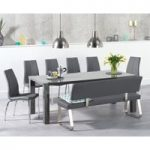 Atlanta 200cm Dark Grey High Gloss Dining Table with Cavello Chairs and Malaga Grey Bench with Back