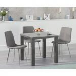Atlanta 80cm Dark Grey High Gloss Dining Table with Hamburg Fabric and Chrome Leg Chairs