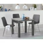 Atlanta 80cm Dark Grey High Gloss Dining Table with Hamburg Faux Leather Chrome Leg Chairs