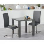 Atlanta 80cm Dark Grey High Gloss Dining Table with Malaga Chairs