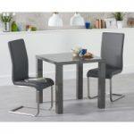 Atlanta 80cm Dark Grey High Gloss Dining Table with Malaga Chairs
