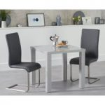 Atlanta 80cm Light Grey High Gloss Dining Table with Malaga Chairs