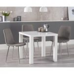 Atlanta 80cm White High Gloss Dining Table with Hamburg Fabric Chrome Chairs