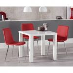 Atlanta 80cm White High Gloss Dining Table with Hamburg Faux Leather Chairs
