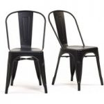 Tolix Industrial Style Black Dining Chairs (Pair)
