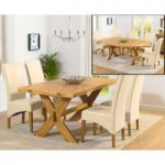 Bordeaux 165cm Oak All Sides Extending Table with Cannes Chairs