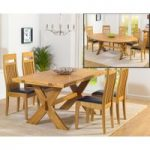 Bordeaux 165cm Oak All Sides Extending Table with Monaco Chairs