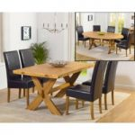 Bordeaux 165cm Oak All Sides Extending Table with Rustique Chairs