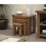 Rustic Solid Oak Nest of Tables