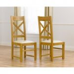 Cheshire Solid Oak and Cream Leather Dining Chairs (Pair)