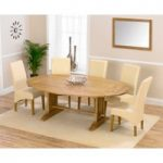 Cavendish 165cm Oak All Sides Extending Table with Cream Cannes Chairs