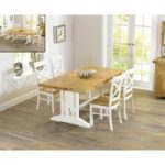 Cavendish 165cm Oak and Cream All Sides Extending Table with Cavendish Chairs