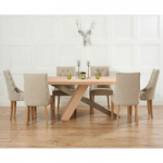 Chateau 180cm Oak and Metal Dining Table with Beige Pacific Fabric Chairs