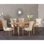 Cheadle 130cm Oak Extending Dining Table with Cora Fabric Chairs