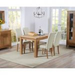 Cheadle 120cm Oak Extending Dining Table with Cream Albany Chairs