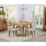 Cheadle 90cm Oak Extending Dining Table with Cream Albany Chairs
