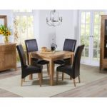 Cheadle 90cm Oak Extending Dining Table with Brown Cannes Chairs
