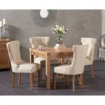 Cheadle 90cm Oak Extending Dining Table with Cora Fabric Chairs