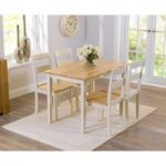 Chiltern 115cm Oak and Cream Dining Table and Chairs