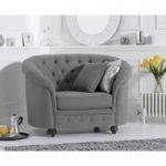 Cara Chesterfield Grey Fabric Armchair