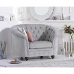 Cara Chesterfield Grey Plush Fabric Armchair