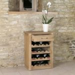 Mobel Solid Oak Wine Rack Lamp Table