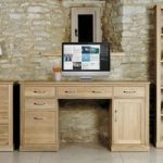 Mobel Solid Oak Twin Pedestal Computer Desk