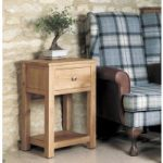 Mobel Solid Oak One Drawer Lamp Table