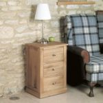 Mobel Solid Oak Three Drawer Lamp Table