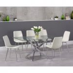 Denver 160cm Glass Dining Table with Hamburg Faux Leather Chrome Leg Chairs