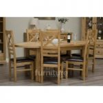 Deluxe Oval Dual Extending Solid Oak Dining Table with Ladderback Chairs