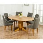 Dorchester 120cm Solid Oak Round Extending Dining Table with Charcoal Grey Pacific Fabric Chairs
